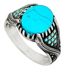 925 sterling silver 5.24cts fine blue turquoise mens ring jewelry size 10 c8506