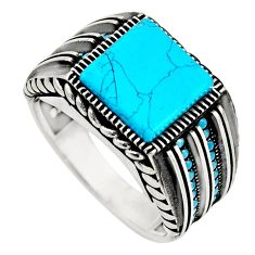 5.81cts fine blue turquoise 925 sterling silver mens ring jewelry size 11 c8507