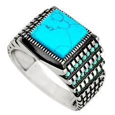 5.81cts fine blue turquoise 925 sterling silver mens ring size 11.5 c8508