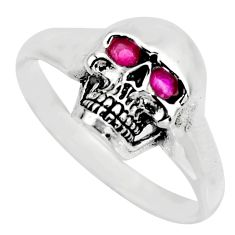 4.02cts red ruby (lab) 925 sterling silver skull charm ring size 10 c8531
