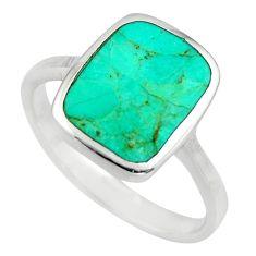 4.89gms green arizona mohave turquoise enamel 925 silver ring size 9 c8541