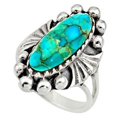4.82cts green arizona mohave turquoise 925 sterling silver ring size 6.5 c8547