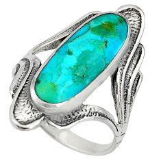 4.82cts green arizona mohave turquoise 925 sterling silver ring size 8.5 c8552