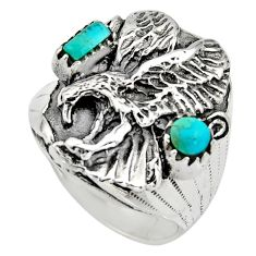 1.49cts green arizona mohave turquoise 925 sterling silver ring size 9.5 c8556