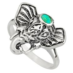 3.48gms green arizona mohave turquoise 925 silver elephant ring size 7 c8559