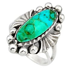 925 sterling silver 5.35cts green arizona mohave turquoise ring size 7 c8604