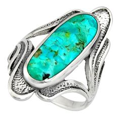6.68gms green arizona mohave turquoise enamel 925 silver ring size 7 c8606