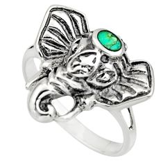 3.26gms green arizona mohave turquoise 925 silver elephant ring size 6 c8610