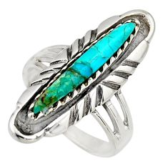 925 sterling silver 2.36cts green arizona mohave turquoise ring size 7 c8615
