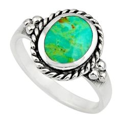 1.74cts green arizona mohave turquoise 925 sterling silver ring size 5.5 c8618