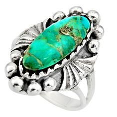 925 sterling silver 4.82cts green arizona mohave turquoise ring size 7 c8619