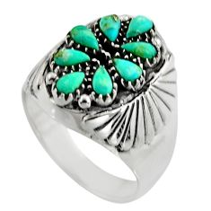 3.16cts green arizona mohave turquoise 925 sterling silver ring size 9.5 c8620