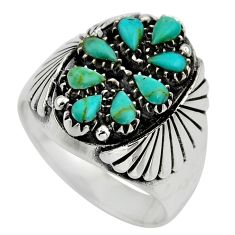 3.39cts green arizona mohave turquoise 925 sterling silver ring size 10.5 c8661