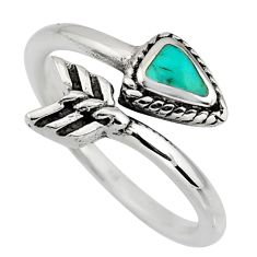 4.48gms green arizona mohave turquoise 925 silver adjustable ring size 8.5 c8662