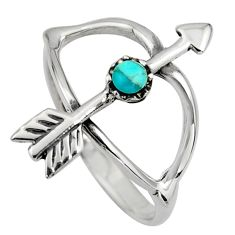 0.16cts green arizona mohave turquoise 925 silver bow charm ring size 7 c8663