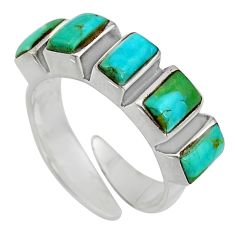 4.70cts green arizona mohave turquoise 925 silver adjustable ring size 6 c8664
