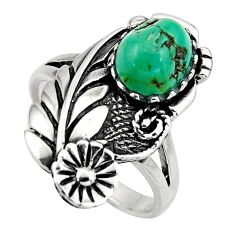 3.35cts green arizona mohave turquoise 925 silver flower ring size 9 c8665