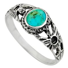 925 silver 2.26gms green arizona mohave turquoise enamel ring size 7.5 c8666