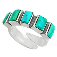 4.74cts green arizona mohave turquoise 925 silver adjustable ring size 6 c8670