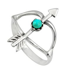 0.21cts green arizona mohave turquoise 925 silver bow charm ring size 7 c8671