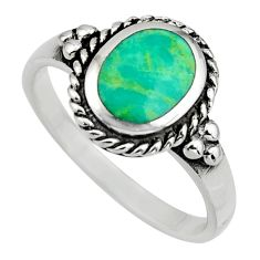 2.21cts green arizona mohave turquoise 925 sterling silver ring size 8 c8672