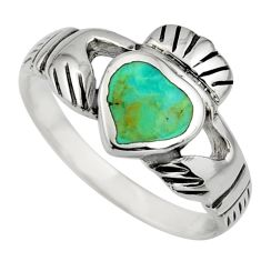 1.63cts green arizona mohave turquoise 925 silver heart ring size 6.5 c8676
