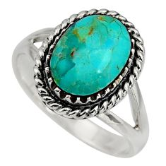5.35cts green arizona mohave turquoise 925 sterling silver ring size 11 c8677