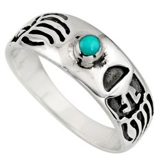 0.22cts green arizona mohave turquoise 925 sterling silver ring size 10.5 c8678