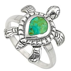 925 silver 4.02gms green arizona mohave turquoise tortoise ring size 7 c8679
