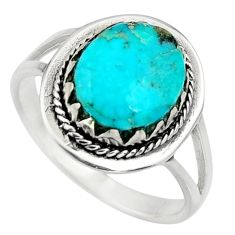 3.83cts green arizona mohave turquoise 925 sterling silver ring size 7.5 c8682