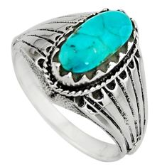 925 sterling silver 3.42cts green arizona mohave turquoise ring size 8 c8684