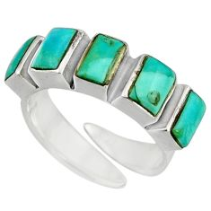 4.74cts green arizona mohave turquoise 925 silver adjustable ring size 5.5 c8687