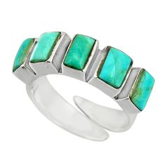 4.65cts green arizona mohave turquoise 925 sterling silver ring size 6 c8689