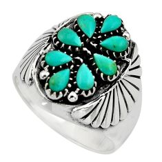 925 silver 3.39cts green arizona mohave turquoise pear ring size 9.5 c8691