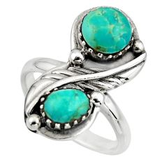 925 sterling silver 5.51cts green arizona mohave turquoise ring size 7 c8696