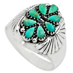 3.96cts green arizona mohave turquoise 925 sterling silver ring size 13.5 c8700
