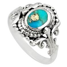 3.02gms blue arizona mohave turquoise enamel 925 silver ring size 7 c8701