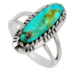 3.68cts blue arizona mohave turquoise 925 sterling silver ring size 7.5 c8705