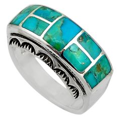 925 silver 8.26gms blue arizona mohave turquoise enamel ring size 8 c8706
