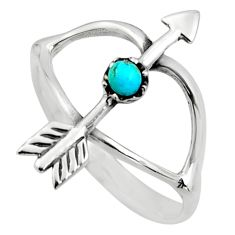 0.40cts blue arizona mohave turquoise 925 silver bow charm ring size 8 c8707