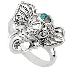 3.02gms blue arizona mohave turquoise 925 silver elephant ring size 5 c8709