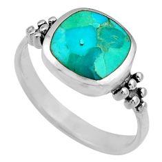 3.48gms blue arizona mohave turquoise enamel 925 silver ring size 7 c8720