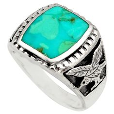 5.81cts green arizona mohave turquoise 925 sterling silver ring size 9.5 c8723