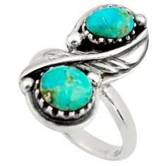 925 sterling silver 5.63cts green arizona mohave turquoise ring size 7 c8728