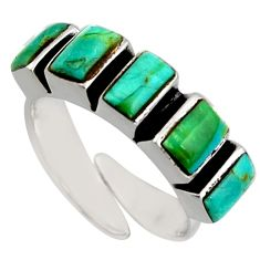 925 silver 5.11cts green arizona mohave turquoise adjustable ring size 6.5 c8732