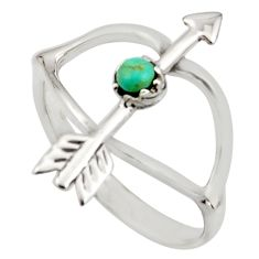 0.34cts green arizona mohave turquoise 925 silver bow charm ring size 7 c8743