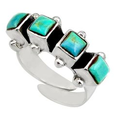 2.93cts green arizona mohave turquoise 925 silver adjustable ring size 6 c8744