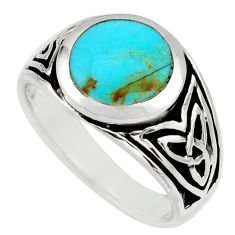 8.02gms green arizona mohave turquoise enamel 925 silver ring size 9.5 c8747