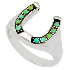 1.12cts green arizona mohave turquoise 925 sterling silver ring size 8.5 c8751