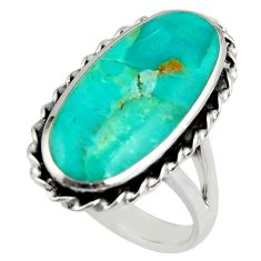 13.07cts green arizona mohave turquoise 925 sterling silver ring size 9 c8753